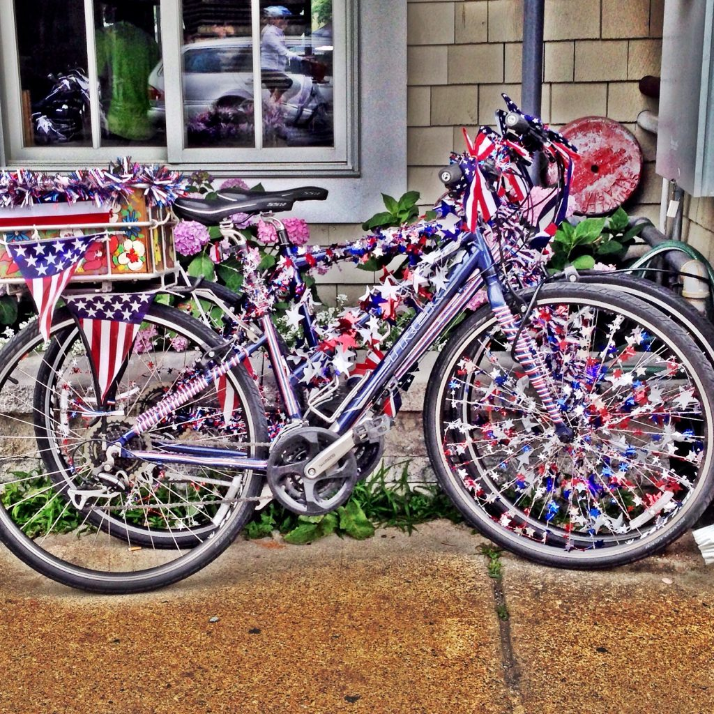 bike decorated for the Fourth of July