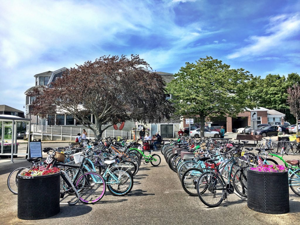 bikes parked on rack woods hole