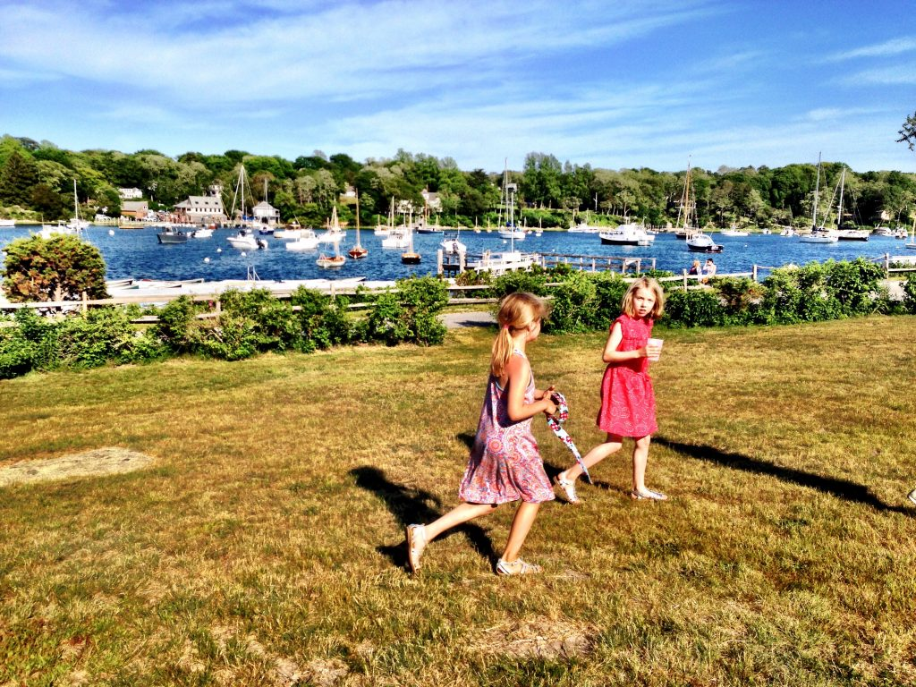 girls running near dock